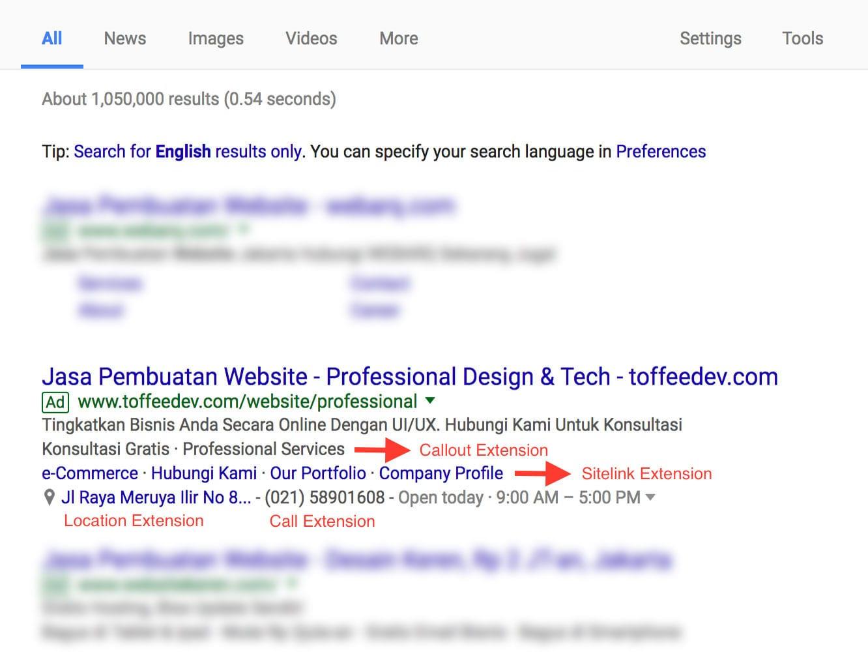 ekstensi google search desktop