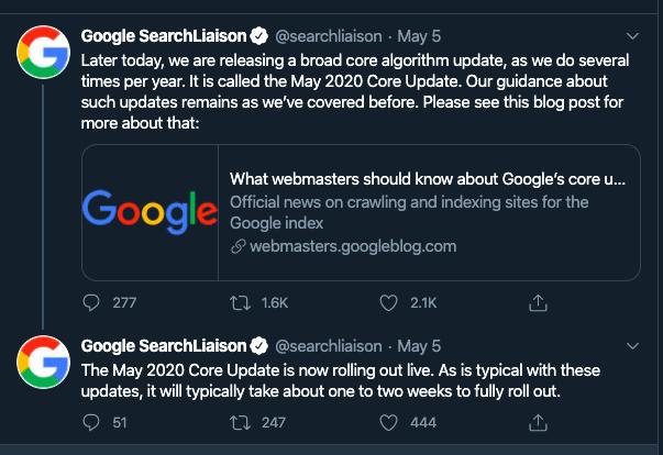 Google Broad Core Update Algorithma: Mei 2020